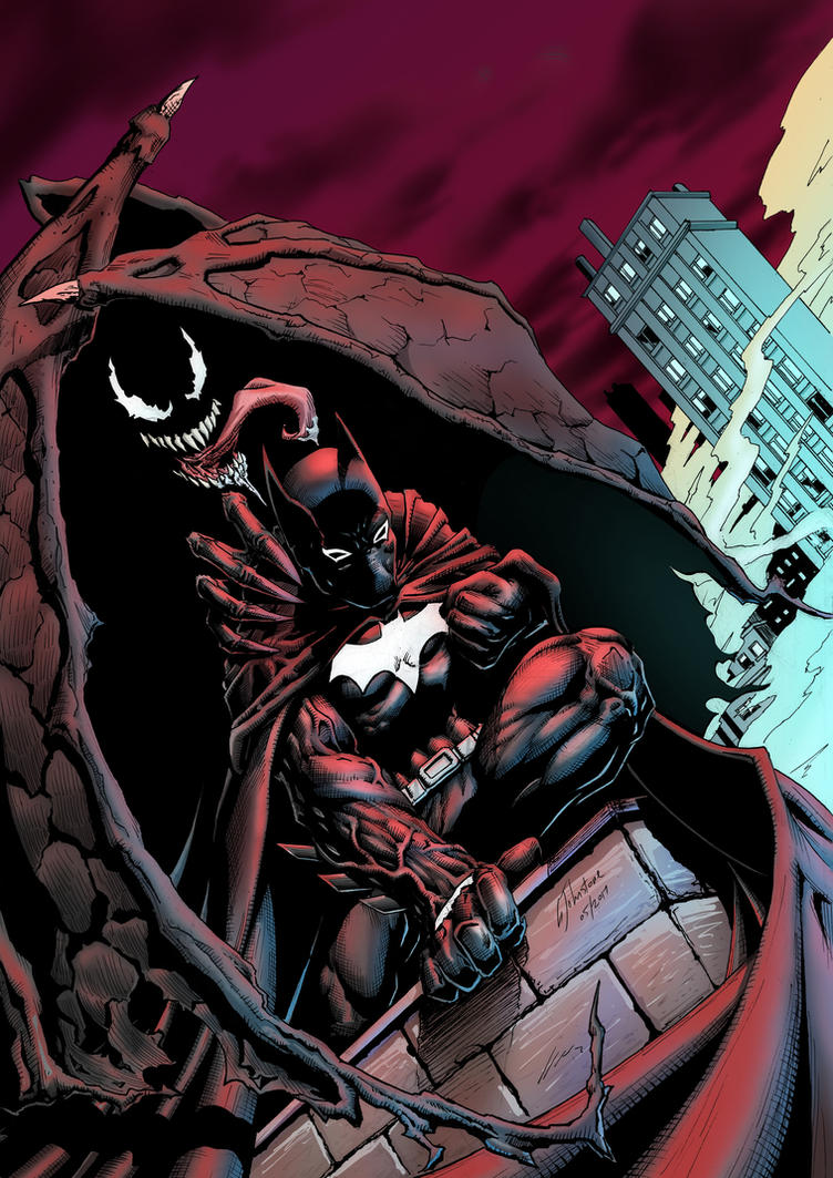 Batman and Venom mashup by JustGeoffsArt