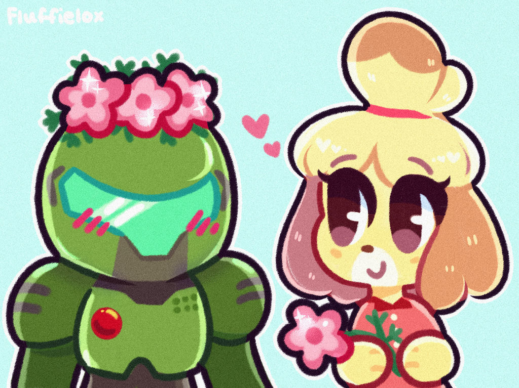 Isabelle And Doomguy By Fluffielox On Deviantart