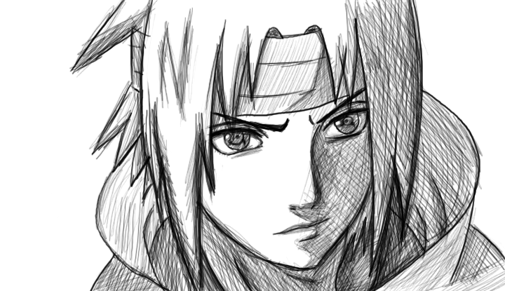 how to draw sasuke shippuden face