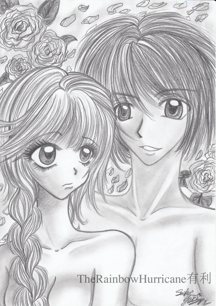 Pencil drawing boy and girl by yuuricchin