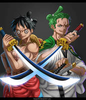 Luffy And Zoro by CaesarAI