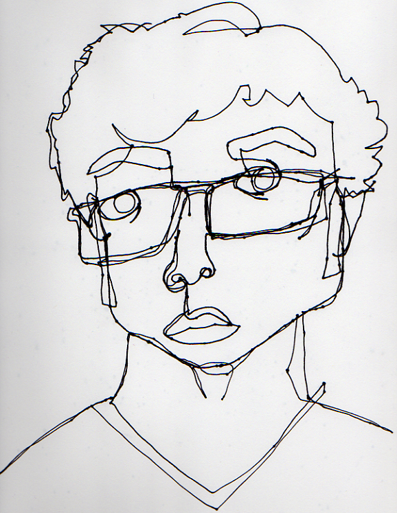 Blind Contour Line Drawing Self Portrait : Blind contour self portrait by durkadoo on deviantart