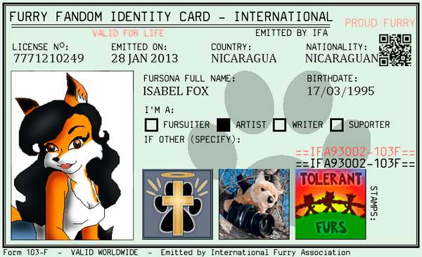 my oficial furry fandom ID card by eict