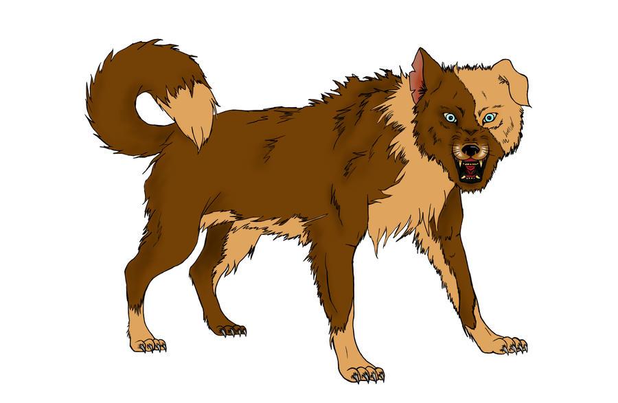 Orange Wolf Drawing wild wolfdog snarling by