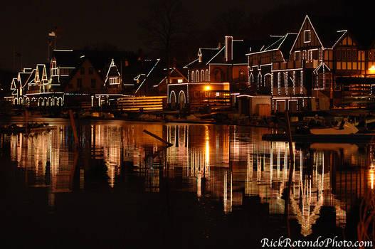 Boathouse Row Lit At Night by GhostDakota