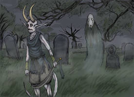 Demon and Shade at cemetery by MoonlightHawk