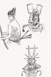 Samurai Sketches by MoonlightHawk