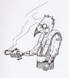 Scifi Bird Dude by MoonlightHawk