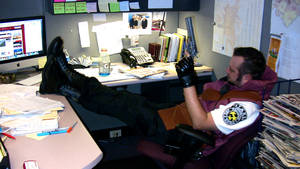 Barry Burton in the S.T.A.R.S office