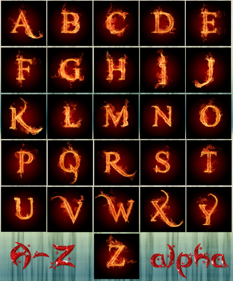 A-Z Fire Alphabets HD by thewayur