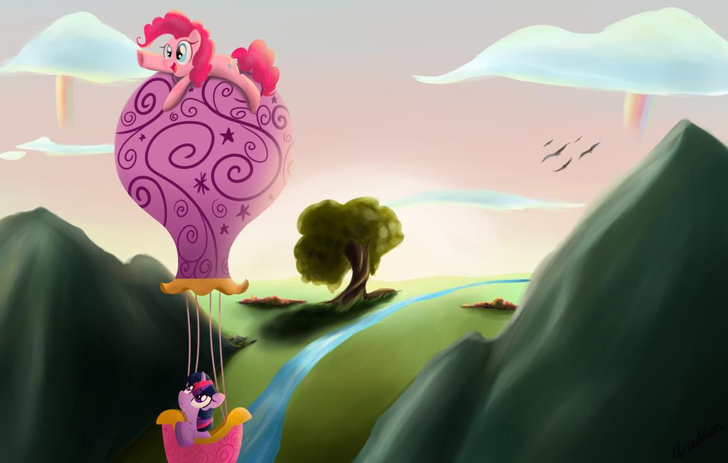 Flying through Ponyville by CosmicPonye