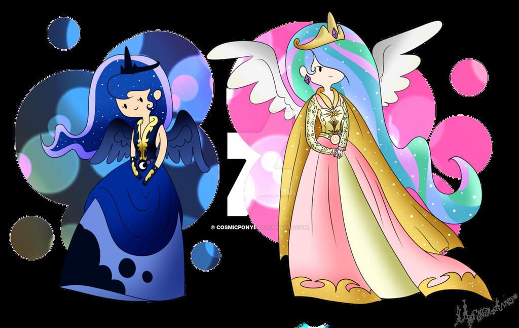 Celestia and Luna by CosmicPonye