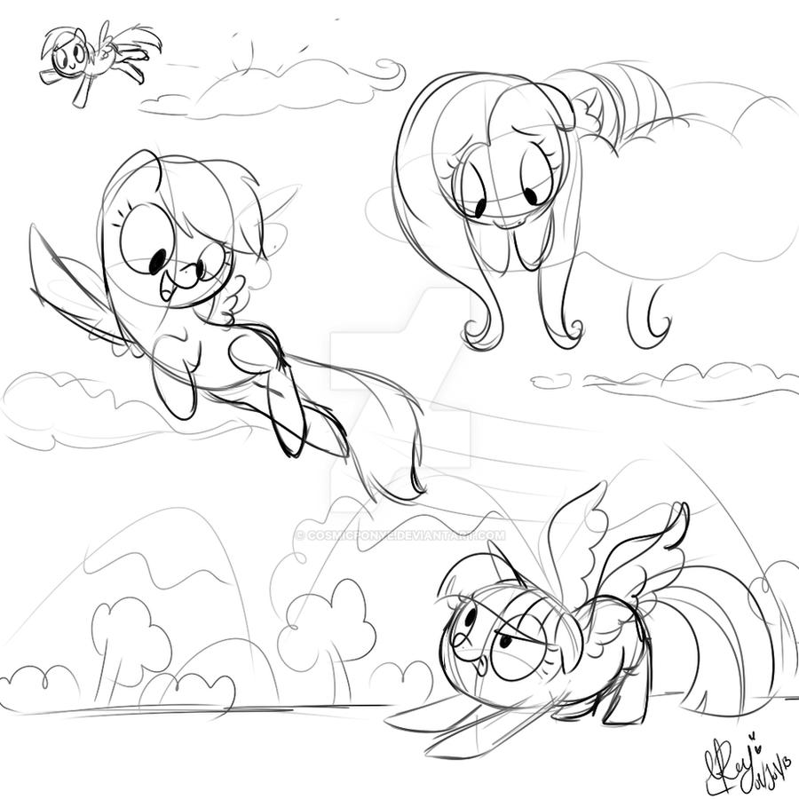 Sketch Flying Test by CosmicPonye