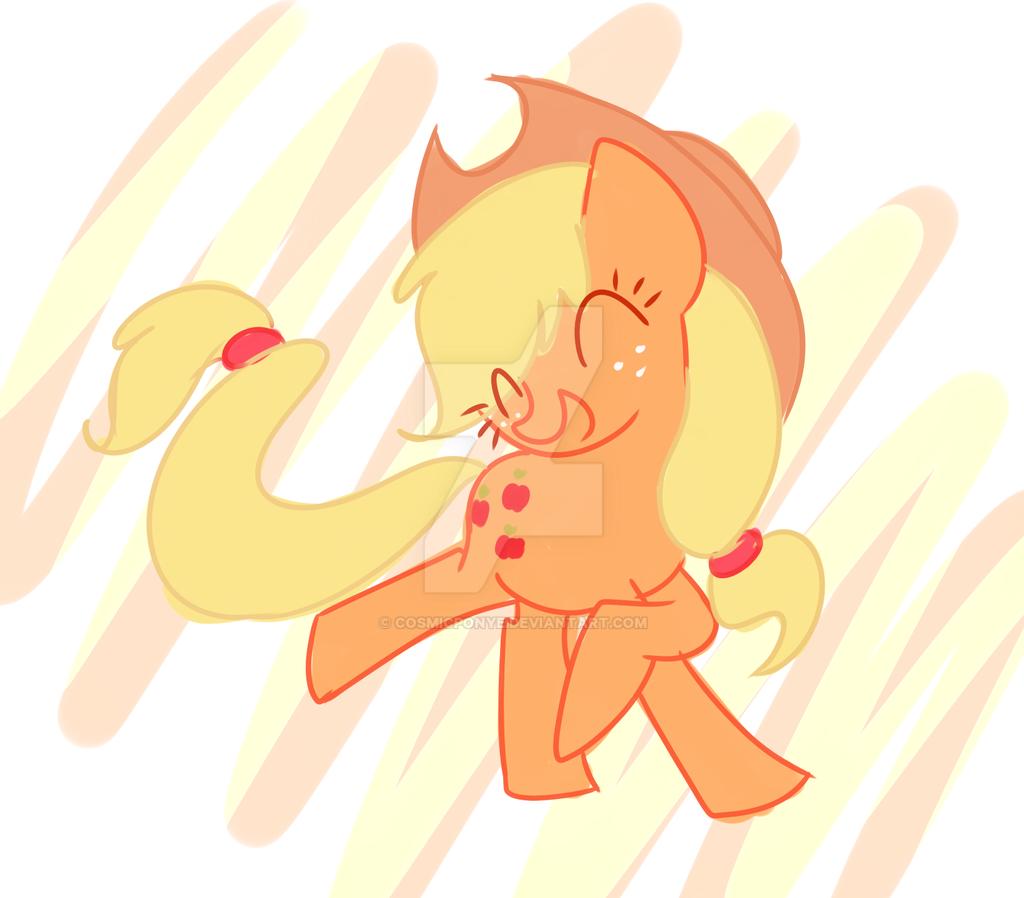 happy applejack by CosmicPonye