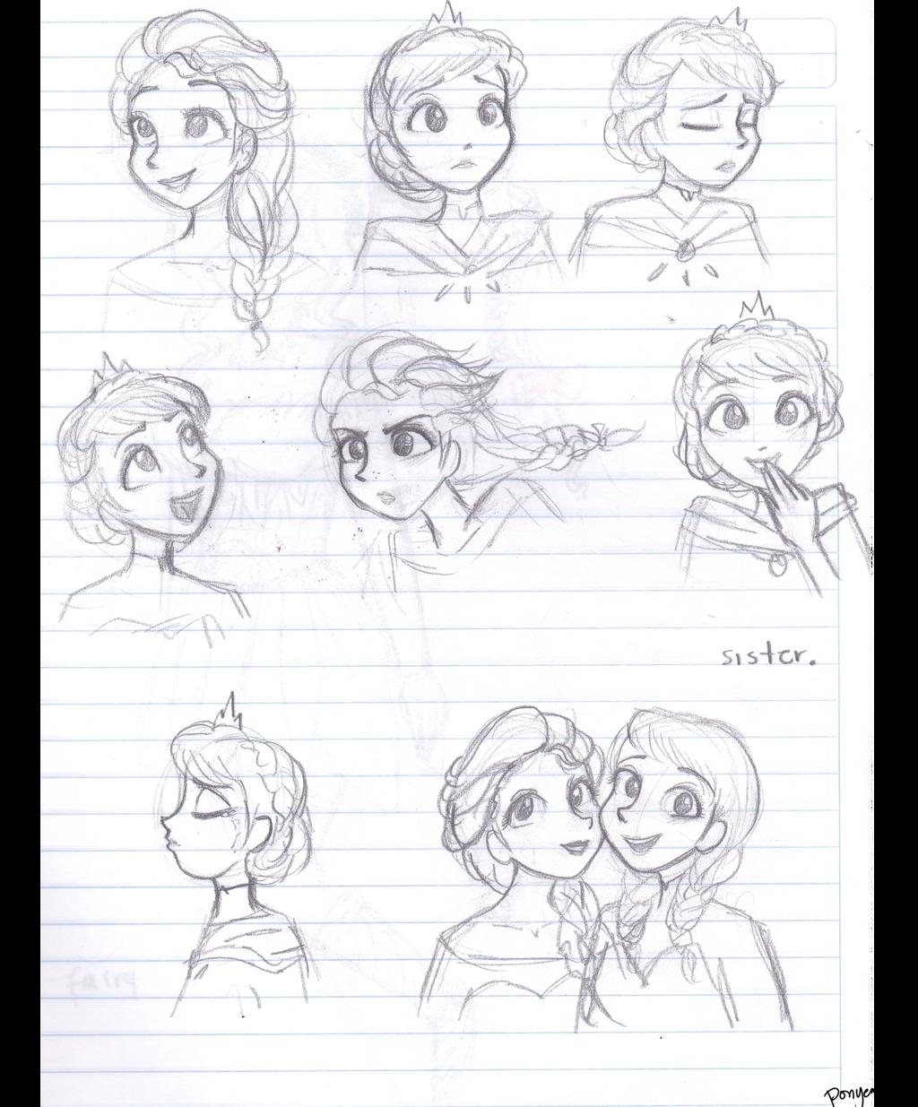 Elsa Sketches by CosmicPonye