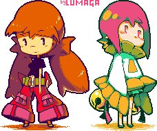 Lupe and Lina chibi pixel by Lumaga