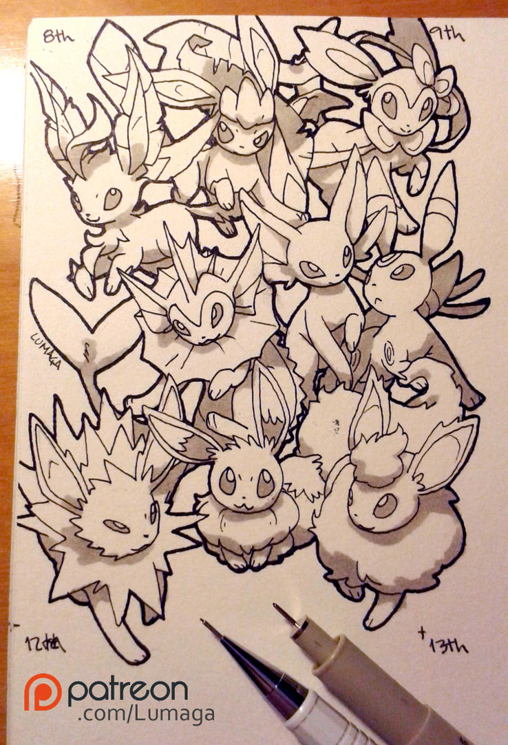 Daily drawing 08/02/16 - Eeveelutions by Lumaga