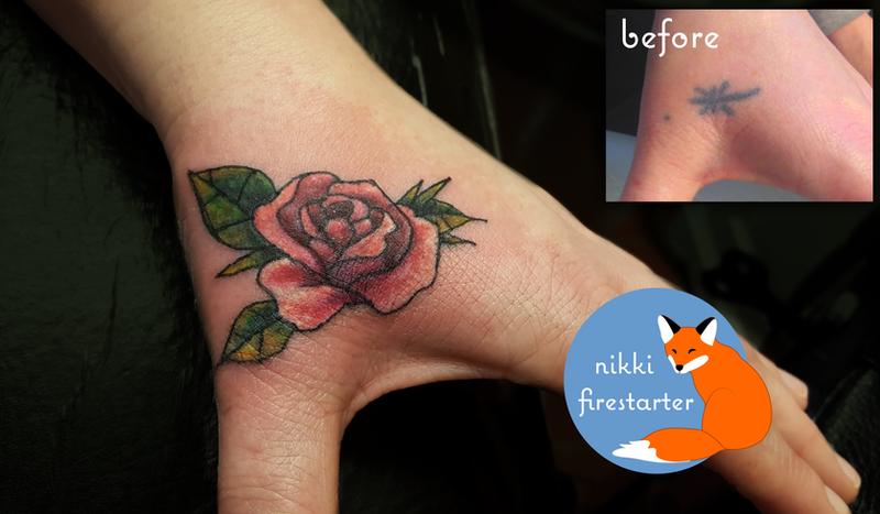 Rose Tattoo on Hand by NikkiFirestarter