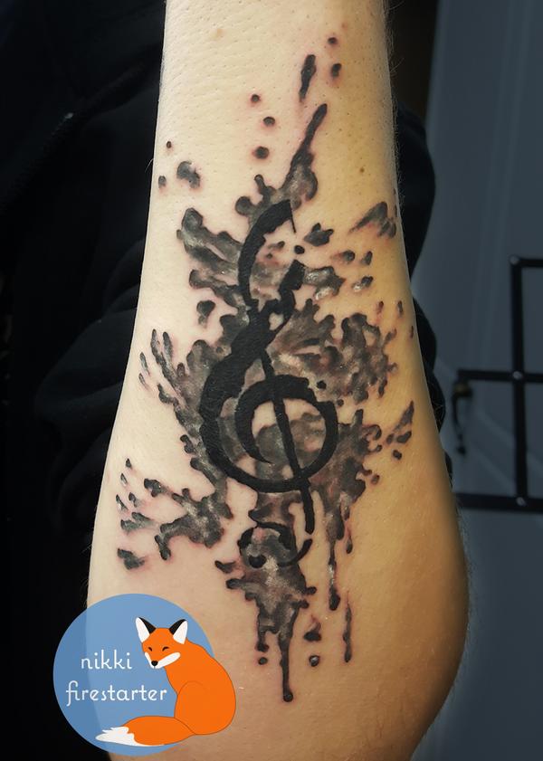 Treble Clef Ink Splash Tattoo by NikkiFirestarter