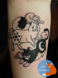 Sun Moon Cats Tattoo by NikkiFirestarter