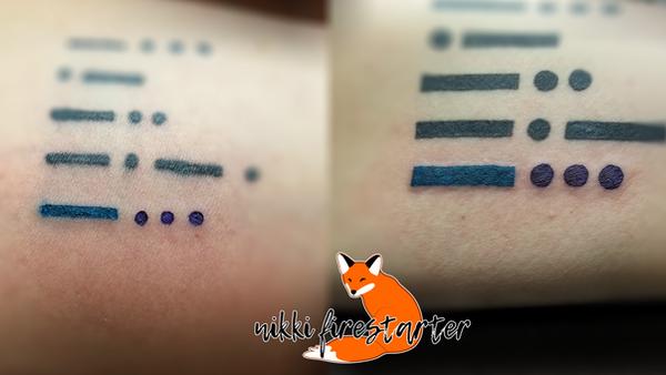 Teal and Purple Morse Code B by NikkiFirestarter
