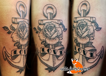 Woodcut Anchor with Rose Tattoo