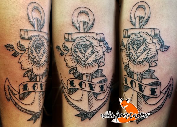 Woodcut Anchor with Rose Tattoo by NikkiFirestarter