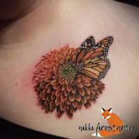 Marigold and Monarch Tattoo by NikkiFirestarter