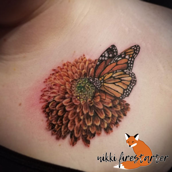 Marigold and Monarch Tattoo by NikkiFirestarter