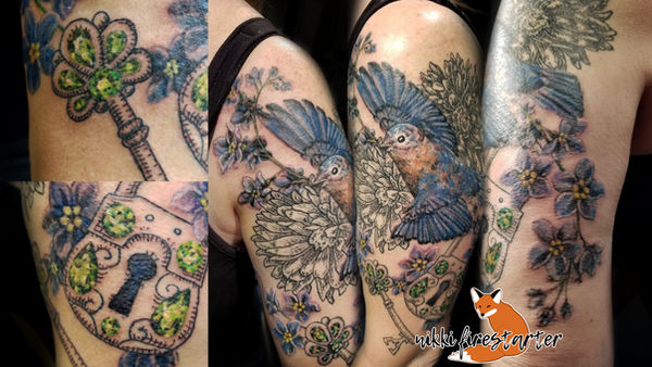 Bluebird Sleeve Tattoo by NikkiFirestarter