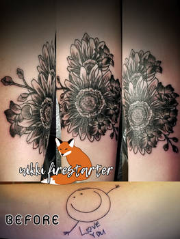Coverup Tattoo with Wedding Flowers