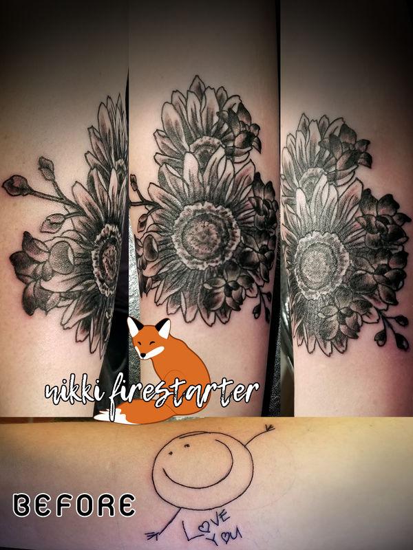 Coverup Tattoo with Wedding Flowers by NikkiFirestarter