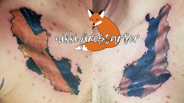 Sweden and Finland Tattoo by NikkiFirestarter