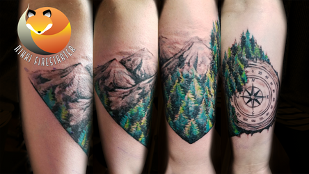 Compass and Trees Tattoo