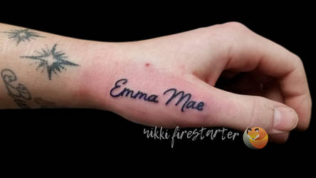 Name On Hand Tattoo