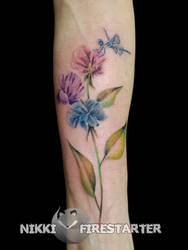 Soft Sweet Peas And Dragonfly Tattoo