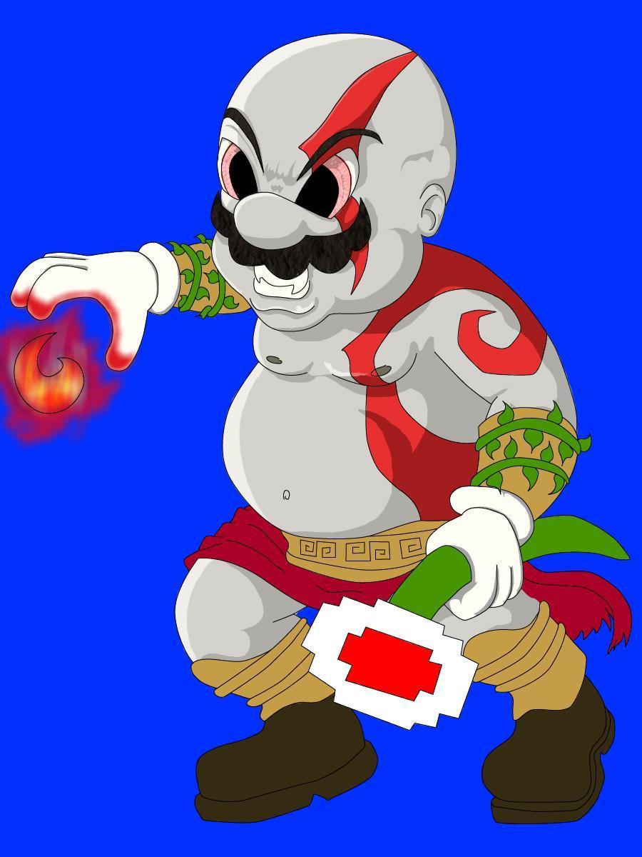 Sony/Nintendo Mario Movie Allegedly Exists MARIO_KRATOS_semicolor_by_alejandrocea1979