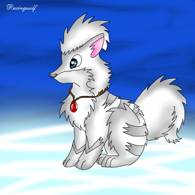 White Growlithe by racingwolfGrowlithe