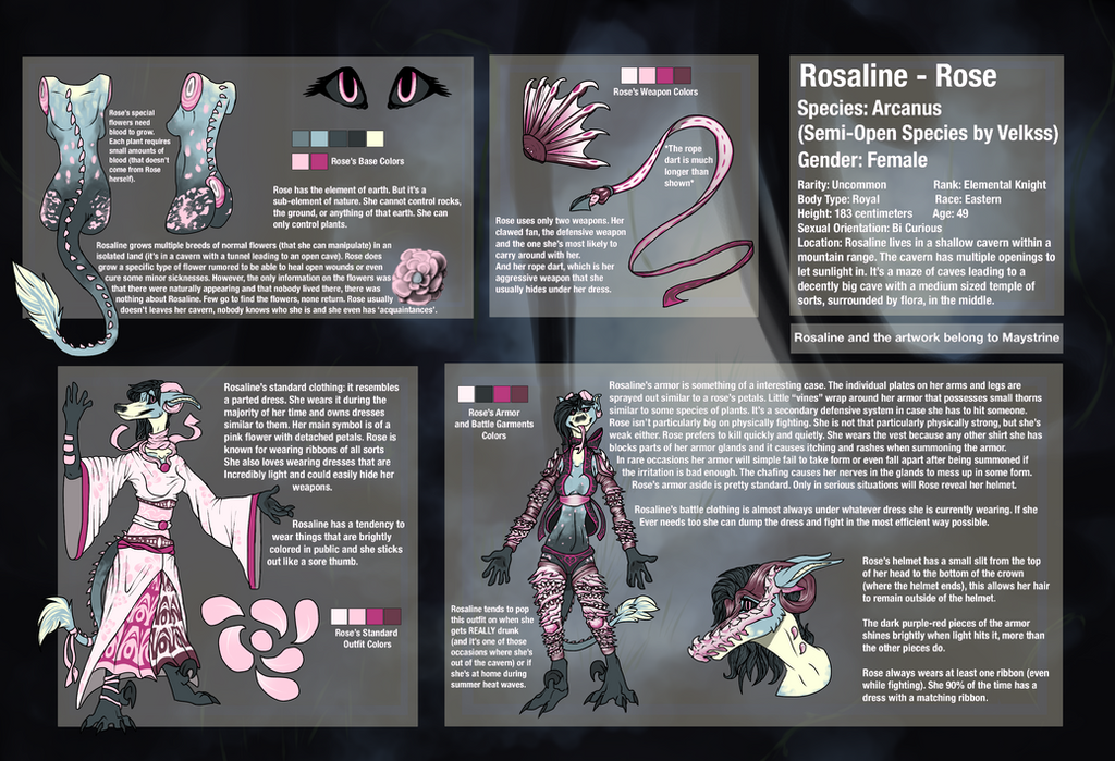 Rosaline Reference Sheet (Arcanus) by Maystrine
