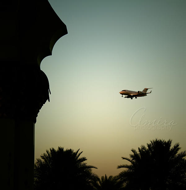 plane from Zayed mosque by amirajuli