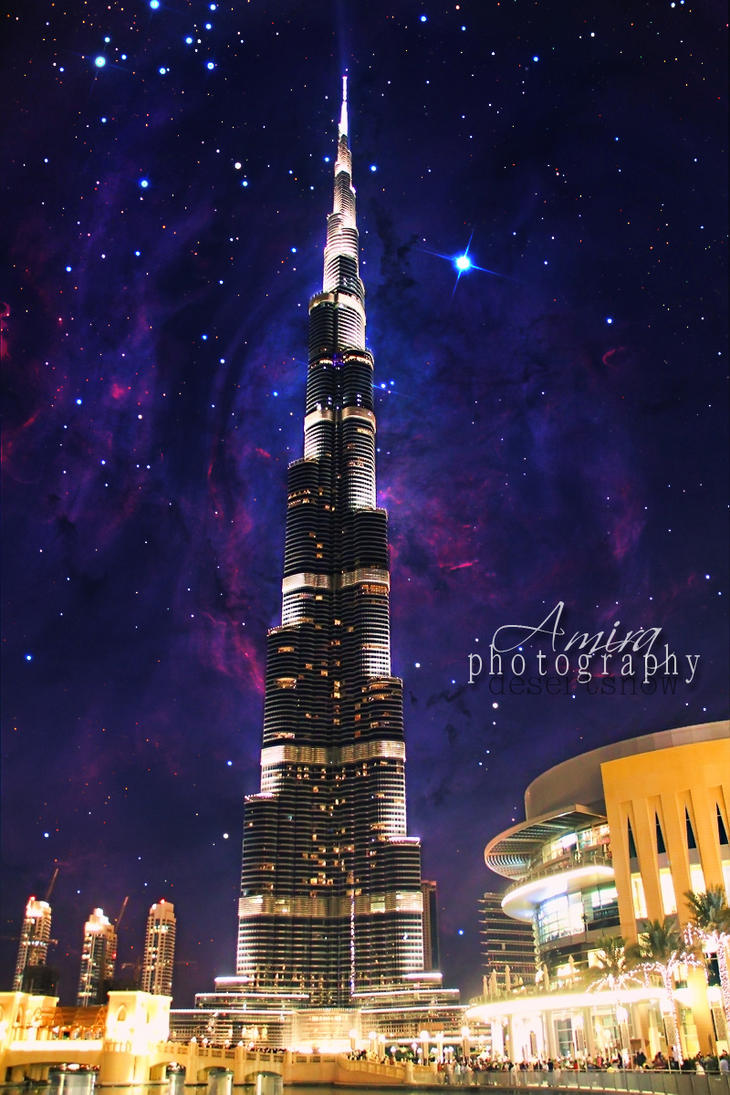 Night galaxy of burj khalifa and dubai mall by amirajuli for Best at dubai