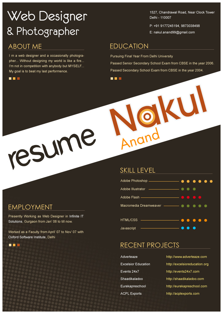 resume design by nakulanand on deviantart