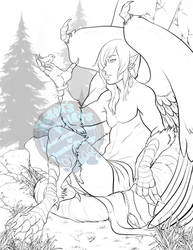 Coloring page 2 - harpy male by RenonsPrints