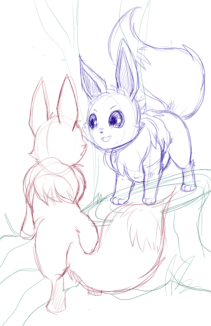 Forest Eevees -sketch- by RenonsPrints