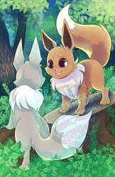 Forest Eevees by RenonsPrints