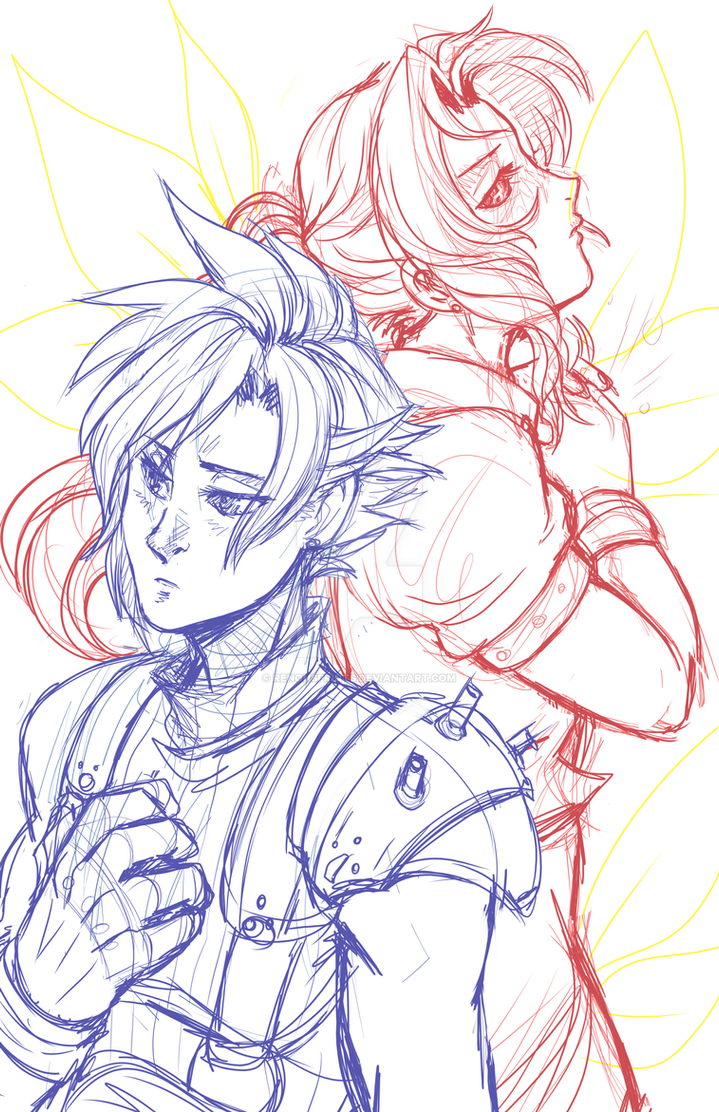 Cloud and Aerith - sketch by RenonsPrints