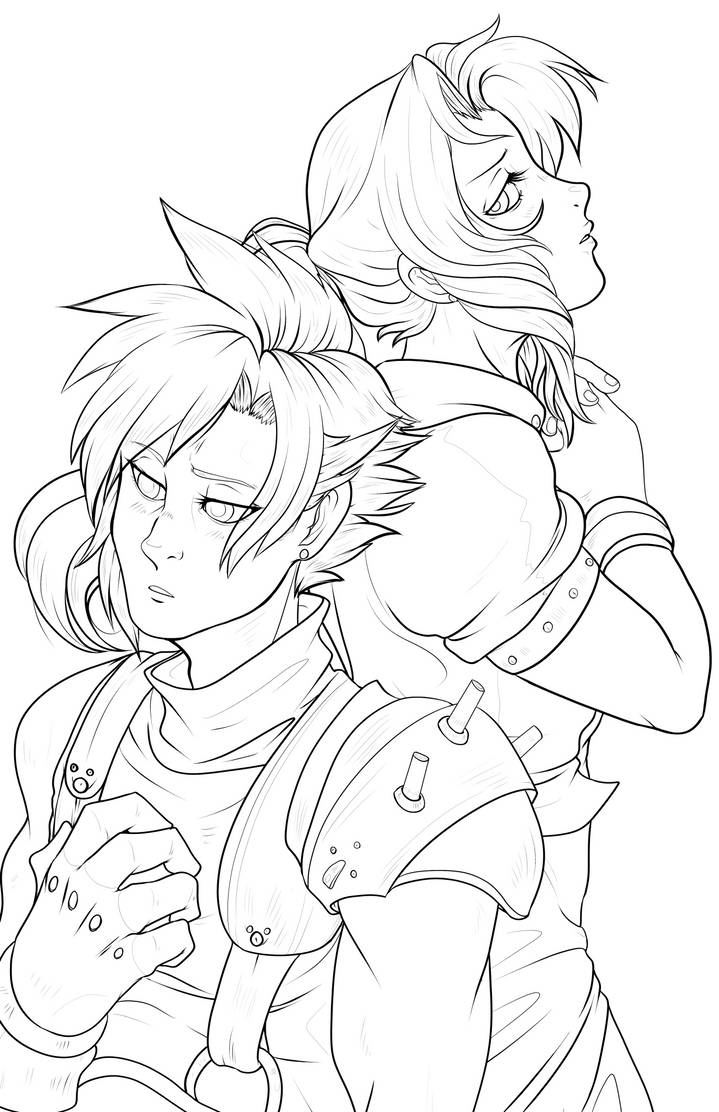 Aerith and Cloud - lineart by RenonsPrints