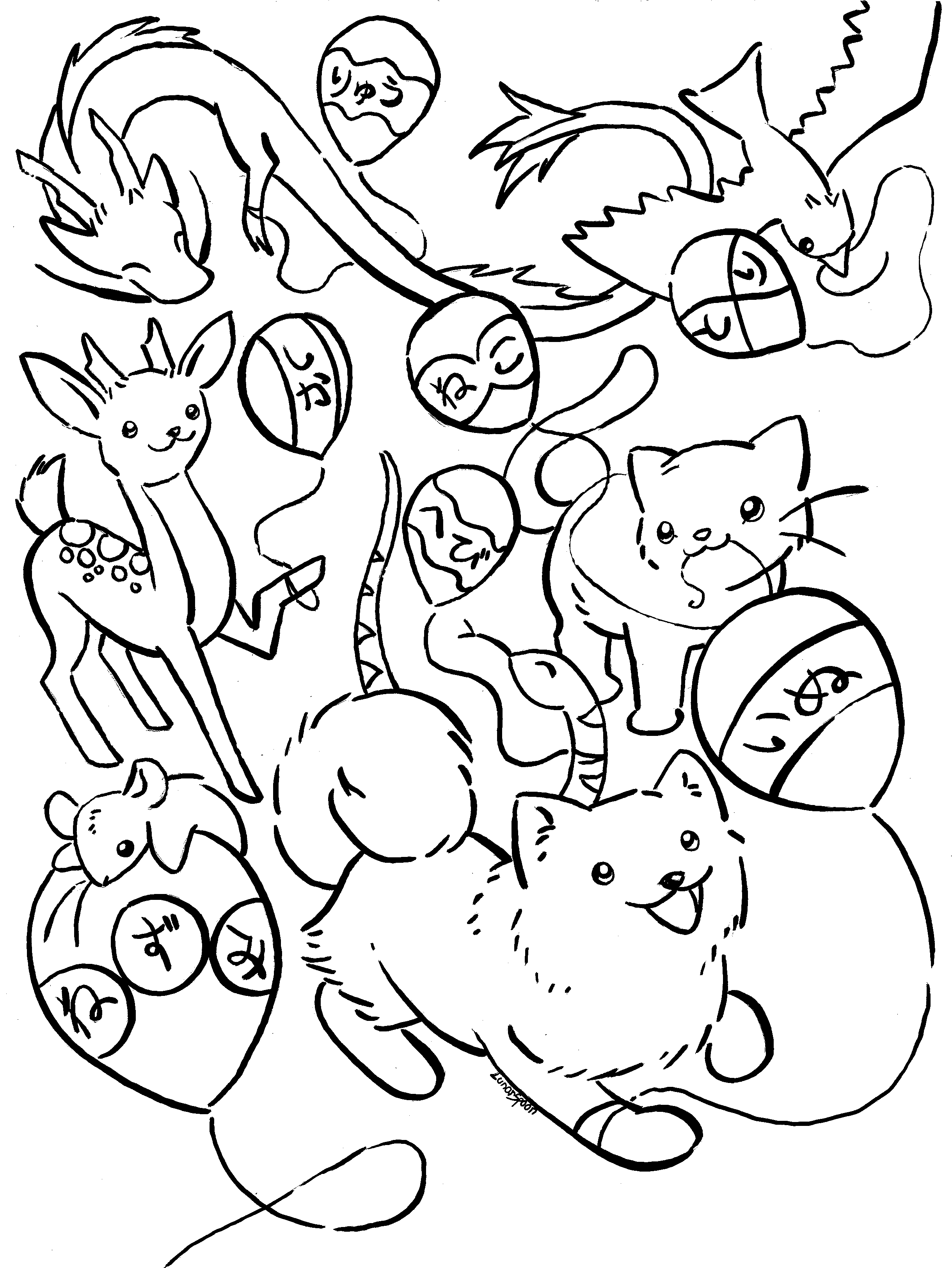 Japanese animals coloring page by lunarspoon on deviantart for Japanese art coloring pages