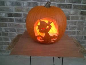 witchy cat jack-o-lantern