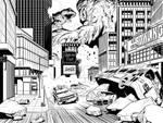 Godzilla vs Hedorah Double PAGE Spread